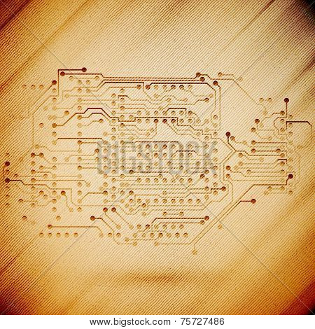 Microchip background, electronics circuit, wooden design vector illustration
