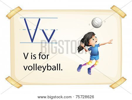 A letter V for volleyball on a white background