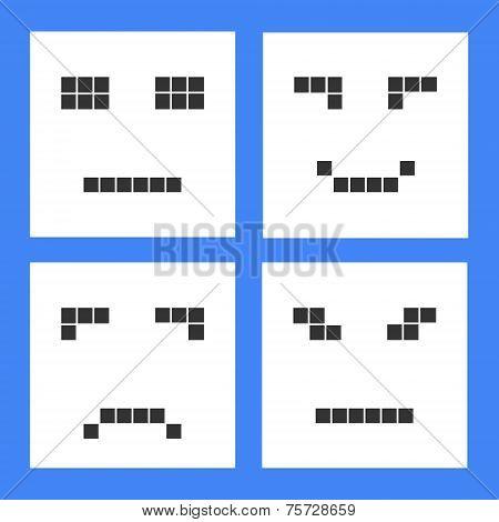 Set Of Basic Emoticons In Flat Design