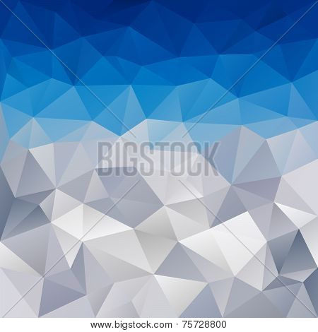 Vector Polygonal Background Winter Blue Sky