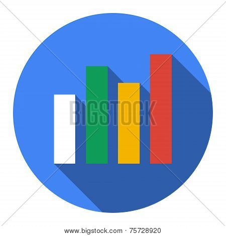Graph. Single Flat Icon On The Circle. Vector Illustration.