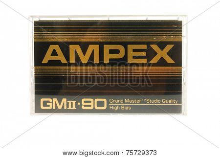Hayward, CA - 27 October, 2014: Cassette of AMPEX Grand Master II audio tape