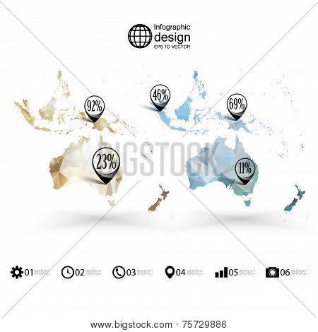 Australia map template, triangle design, infographics vector illustration