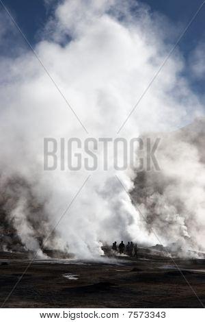 Tourists Near Erupting Geyser, Chile