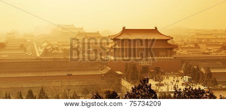 Historical architecture in Forbidden City in Beijing, China.