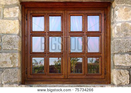 Vintage Single Mirrow Window On Natural Stone Wall