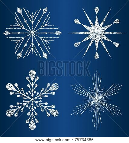 vector textured snowflakes 4