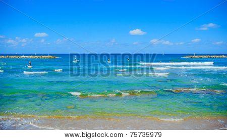 panorama of the beach in Tel Aviv
