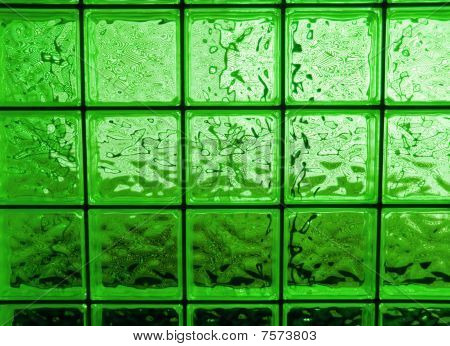Abstract Of A Green-tone Glass Block Window Frame
