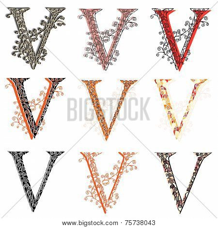 Various Combination Fishnet Letter V.