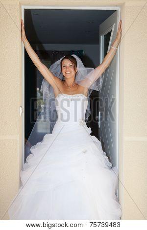 Happy Caucasian Bride