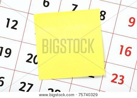Yellow Sticky on a Calendar