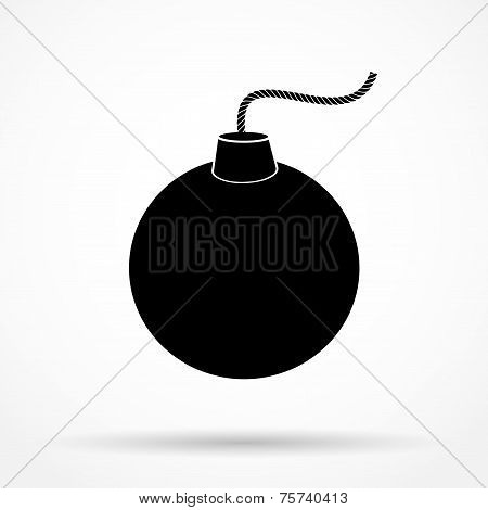 Silhouette simple symbol of Black Bomb and wick. Vector Illustration.