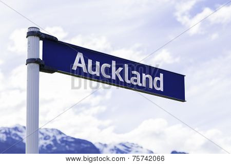 Auckland sign in New Zealand