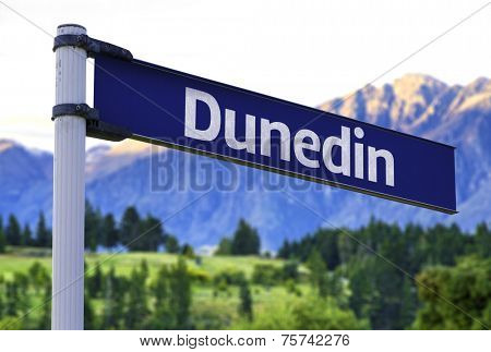 Dunedin sign on a beautiful landscape background