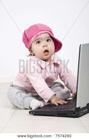 Business Baby Girl With Laptop