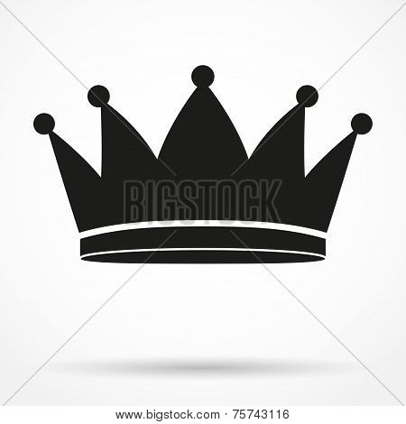 Silhouette simple symbol of classic royal king Crown. Vector Illustration