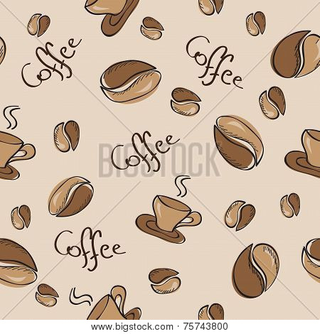 Seamless Background With Coffee Beans And Cups