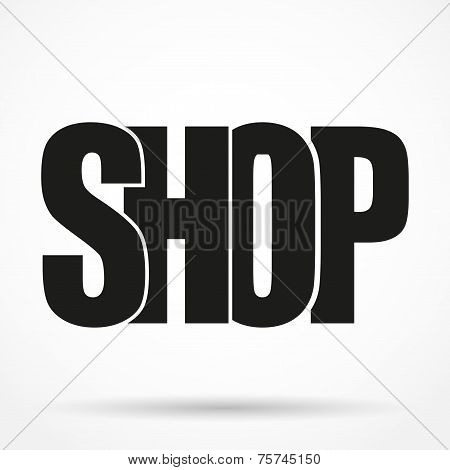 Silhouette simple symbol of Letters Typography Logo shop