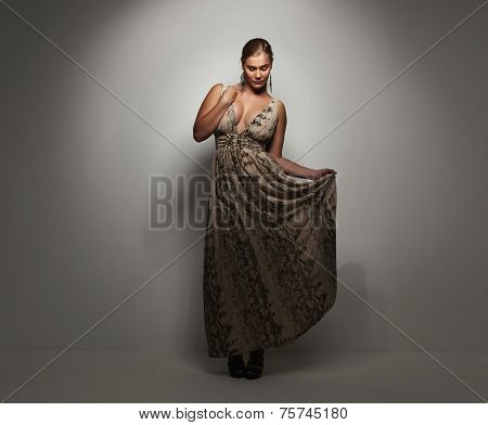 Pretty Young Lady In A Elegant Evening Dress