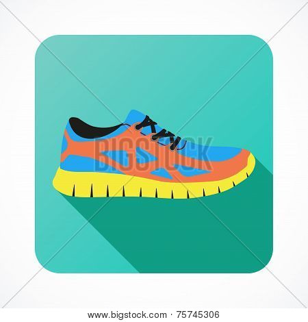 Shoes flat icon with bright colorful running sneakers. Vector illustration.