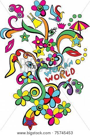 Pop art woman world