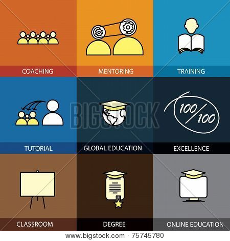 Flat Design Set Of Vector Line Icons Of Coaching Mentoring Training