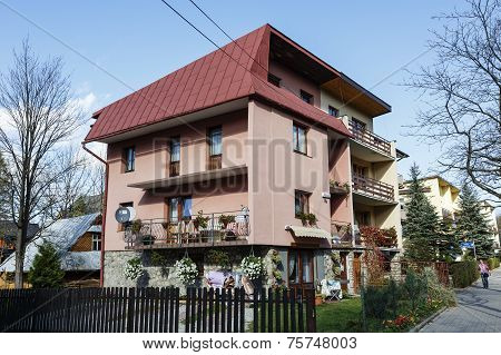 Villa made of brick in Zakopane in Poland