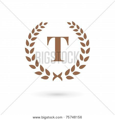 Letter T Laurel Wreath Logo Icon Design Template Elements