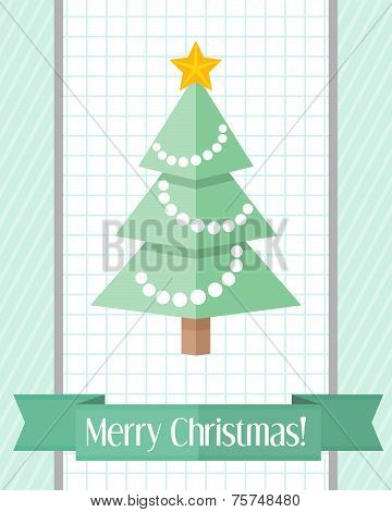 Christmas Card With Fir Tree And Green Ribbon