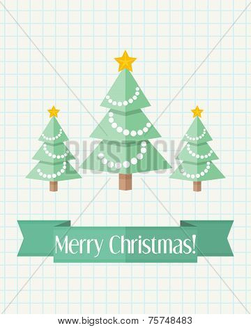 Christmas Card With Three Fir Trees