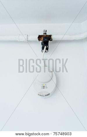 Gas carbon monoxide detector on a wall