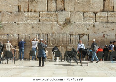 People pray at the wailing wall, Jerusalem - Israel