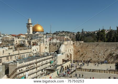 View of the Wailing wall and dome of the rock in Jerusalem