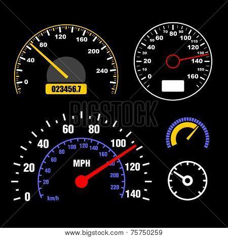 Speedometers Set on Black Background. Vector
