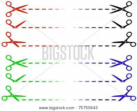 Colorful Scissors And Cut Lines Set