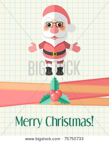 Christmas Card With Santa Claus Over Copybook Page