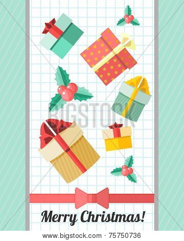 Christmas Card With Red Ribbon And Presents
