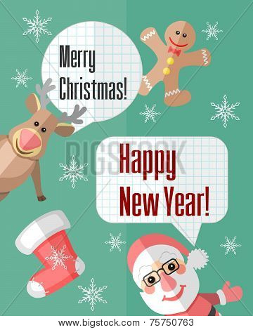 Christmas Card With Santa Claus And Reindeer And Speech Bubbles