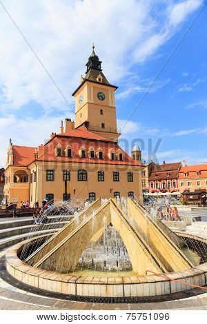 Brasov, Romania - July 15: Council Square On July 15, 2014 In Brasov, Romania. Brasov Is Known For I
