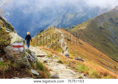 Zakopane, Poland - September 13: Group Of Tourists Walk To The Top Of The Kasprowy Wierch In Tatra M