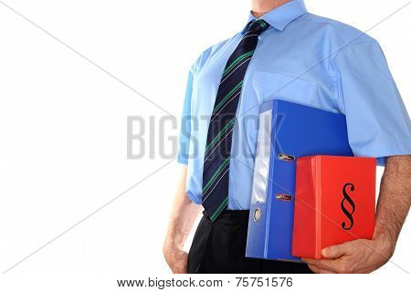 Man With Documents In Arm