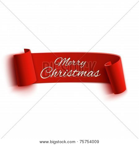 Red realistic detailed curved paper Merry Christmas banner isolated on white background