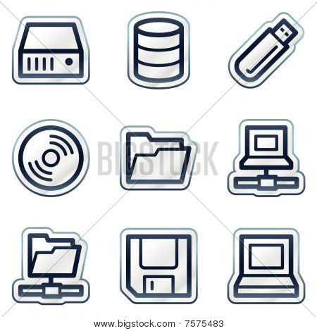 Drives and storage web icons, deep blue contour sticker series