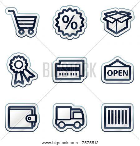 Shopping web icons set 2, deep blue contour sticker series