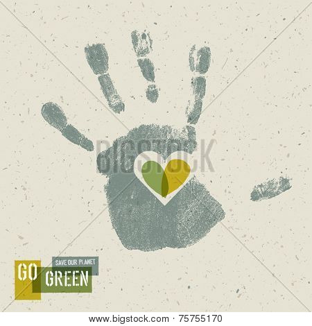 Go Green Concept Poster With Handprint Symbol