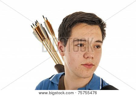Boy Archer In Close Up