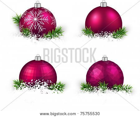 Colorful set of magenta realistic Christmas balls on snow with fir branches. Vector illustration.