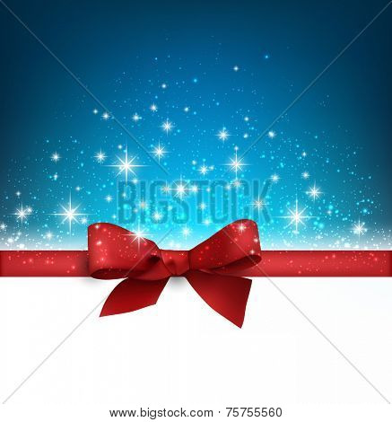 Winter blue background with crystal snowflakes with ribbon and gift bow. Christmas decoration. Vector.