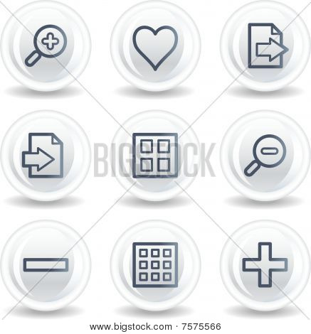 Image viewer web icons set 1, white glossy circle buttons